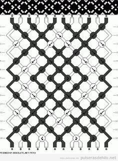 Modelo de pulsera de hilo elegante con estampado de rombos en blanco y  negro