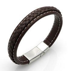 Bracelets : Metal Clasp, Coffee Weave, Men's