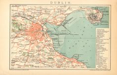 1894 Original Antique City Map of Dublin and by CabinetOfTreasures