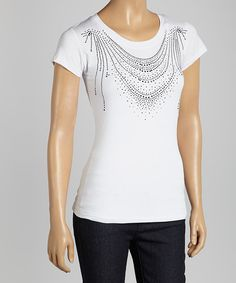 Take a look at the White Layered Rhinestone Tee on #zulily today!