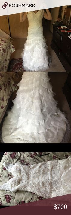 """Wedding Dress Unworn besides original try on and again for the photos. Bout about a year ago and sat in the garment bag since about a month after due to engagement falling through. Bought at a little mom and pop store so unsure of the brand but at the time was brand new. Mom describes it was """"country chic"""". Dresses Wedding"""