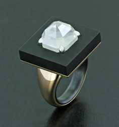 Fancy White Emerald Cut Diamond, Black Jade, Black Ceramic, Platinum and Rose Gold Ring by James de Givenchy, Taffin Jewelry Gems Jewelry, Art Deco Jewelry, Fine Jewelry, Jewelry Design, Gold Jewellery, Gemstone Jewelry, Contemporary Jewellery, Modern Jewelry, Givenchy
