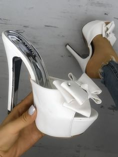 Shop Bowknot Embellished Single Strap Thin Heeled Sandals – Discover sexy women fashion at IVRose Hot High Heels, Platform High Heels, Sexy Heels, High Heel Boots, Womens High Heels, Stiletto Heels, Shoes Heels, Stilettos, Wedding High Heels