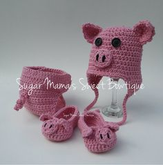 Crochet Piggy Booties, Piggy Hat and Piggy Diaper Cover for Babies and Toddlers MADE TO ORDER Pig Gender Neutral. Cute Barnyard Farm Animal Theme Photo Prop (Children & Adult Sizes for shoes and hat listed by request) by SugarMamaShop (Sugar Mama's Sweet Bowtique)