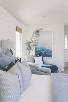 Glamorous Bedroom Design With Seating Area To Inspire 37 The first thing to know is exactly what fitted bedroom furniture is. One of the problems most of us find […] Blue Master Bedroom, Beach House Bedroom, Beach House Decor, Home Bedroom, Bedroom Decor, Home Decor, Hamptons Bedroom, Bedroom Ideas, Bedroom Seating
