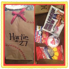 Goodies bags I made for our Softball Team at the end of the year party!