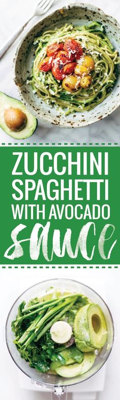 Burst Tomato and Zucchini Spaghetti with Avocado Sauce - a healthy plant-based recipe that comes together in 30 minutes! Perfect as a meal on its own, or as a side for grilled chicken or fish. Vegetarian / Vegan | pinchofyum.com