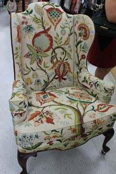 Jacobean Chairs in HandMade Crewel Fabric Pair by