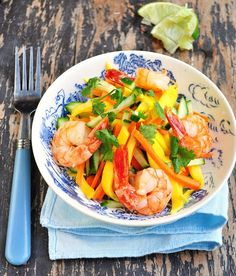 Thai Mango Salad with Grilled Prawns