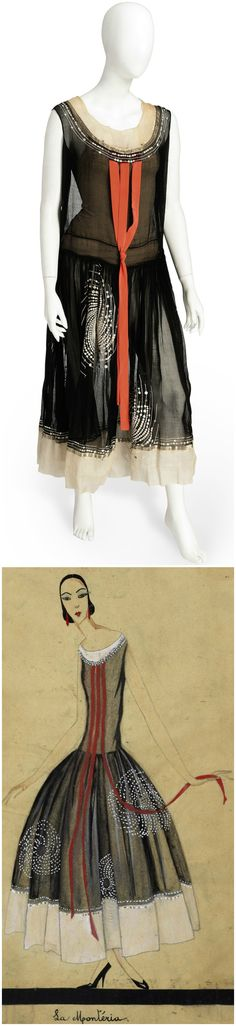 LA MONTERIA, A JEANNE LANVIN ROBE DE STYLE OF BLACK ORGANZA, 1923-4, sold by Christie's in November 2012. From the wardrobe of Catalina Barcena, Cuban-born Spanish star of theatre and film and loyal customer of Lanvin's in the early 1920s. The sheer black robe embroidered with white tamboured and beaded vortices to the skirts, the bodice trimmed with three coral pink ribbon streamers. Accompanying illustration © Copyright Patrimoine Lanvin.