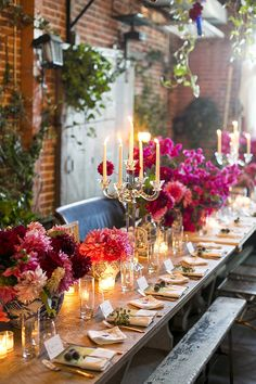 If only i had a garden table this long. Such a romantic setting