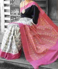 Buy Delicate Cotton Printed Regular Saree (Code: online from sourgrape's online Indian Attire, Indian Wear, Indian Outfits, Phulkari Saree, Ikkat Saree, Indian Silk Sarees, Indian Beauty Saree, Simple Sarees, Sari Blouse Designs