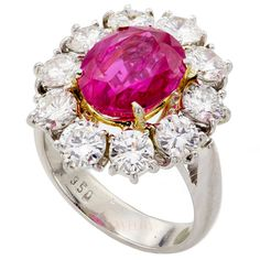 Natural Non-Heated Burmese Ruby Diamond Cluster Ring | From a unique collection of vintage cocktail rings at http://www.1stdibs.com/jewelry/rings/cocktail-rings/