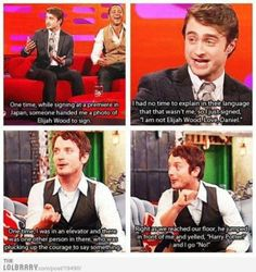 Elijah wood and Daniel Radcliffe.  Harry potter and lord of the rings