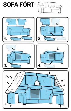 How to build a sofa fort! Haha I love how ikea-ized the instructions are! Things To Do At A Sleepover, Fun Sleepover Ideas, Sleepover Games, Sleepover Crafts, Sleepover Room, Games For Sleepovers, Sleepover Birthday Parties, Teen Party Games, Teen Birthday