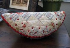 Watermelon Pincushion- Excellent post on pincushion stuffing.