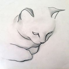 Saatchi Art: SOLD - Contemplative Cat Drawing by Kellas Campbell Animal Drawings, Pencil Drawings, Photo Chat, Art Graphique, Love Art, Cat Art, Painting & Drawing, Water Drawing, Art Sketches