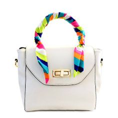 Office Women's Tote Bag With Ribbon and Twist-Lock Design
