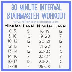 The Fit Chocoholic: 30 Minute Interval StairMaster Workout (Stair Step Exercises) Stairmaster Workout, Hiit Workout At Home, Treadmill Workouts, Best Cardio Workout, Body Workouts, Workout Ideas, Treadmill Running, Circuit Workouts, Step Workout