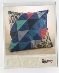 The patchwork blue pillow made by myself.    Follow my page to find more projects and inspirations.
