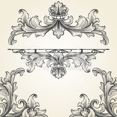 French Acanthus Engraving Set royalty-free stock vector art