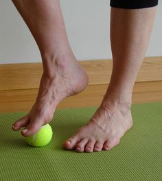 5 Minute Yoga Challenge: Roll your feet on a tennis ball to loosen your hamstrings. I've done this all January and at last night's Bikram class I touched my forehead to my knee for the first time!-said another pinner