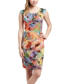 Love this Red & Yellow Floral Cap-Sleeve Dress by ILE New York on #zulily! #zulilyfinds