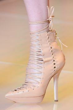 Versace Nude Lace-Up Booties Spring 2013 #Shoes #Heels