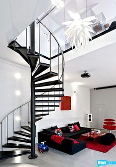Yup...this is the house I would have...open and spacious, airy, and in NY....The super sleek breath-taking spiral staircase, from Episode 8 of Bravo's 'Million Dollar Listing New York'