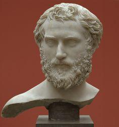 Man, head of Roman sculpture (marble), 2nd century AD, (Ny Carslberg Glyptotek, Copenhagen).