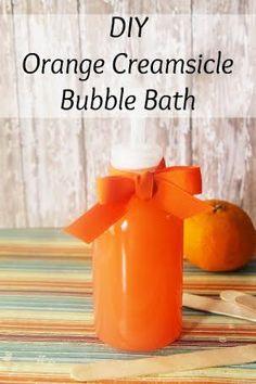 DIY Orange Creamsicle Bubble Bath - Moments With Mandi - DIY Orange Creamsicle Bubble Bath homemade recipe - Bubble Bath Homemade, Homemade Bubbles, Orange Creamsicle, Bath Recipes, Nails Polish, Ideas Hogar, Schaum, Diy Spa, Maker