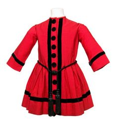 Boy's dress of red woolen cloth, about 1850