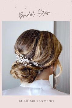 Bridal hair combs add instant glamour to your wedding hairstyle, this beautiful crystal and pearl wedding hair piece will add just the perfect touch of sparkle to your look, it is available in both silver and gold. As the headpiece is flexible it can be worn at the front,side or back of your hair and can be shaped to suit any hairstyle. The hair piece is available in 2 different lengths - - 5 inches long as shown in last 4 pictures . - 7 inches long as shown in first 6 pictures. Hair Placeme Bridal Hair Half Up, Boho Bridal Hair, Bridal Hair Vine, Pearl Bridal, Bridal Belts, Wedding Hair Clips, Wedding Hair Down, Wedding Hair Pieces, Headpiece Wedding