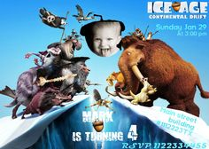 SALE 50 Ice Age  Birthday Invitation  Printable Ice by vitalydi, $5.00