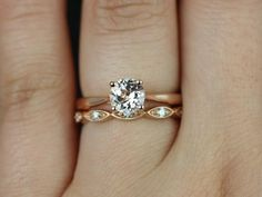 Flora & Andrea 14kt Rose Gold Round Morganite and Diamonds Tulip Cathedral Solitaire Wedding Sets (Other metals and stone options available)...