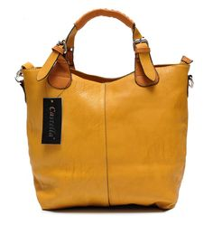 Żółta, skórzana torba