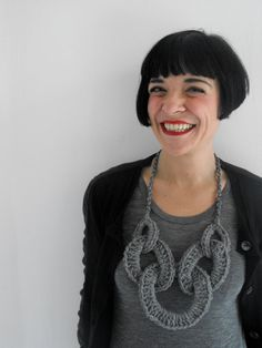"Foto ""pinnata"" dalla nostra lettrice Francesca Mereu http://www.etsy.com/listing/88741126/soft-necklaces-type-1-medium-grey                                                                                                                                                                                 More"