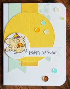 I created a fun birthday card using Paper Smooches Bird fromBirthday Buddies.