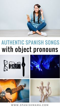 Authentic Spanish songs with tons of direct and indirect object pronouns, and double object pronouns. Your students will love these songs, and hear lots of pronouns in context! #authres #spanishclass #spanishsongs #spanishmama