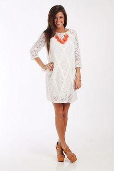 Floral Lace Dress, White