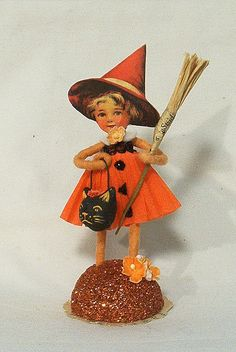 Vintage by Crystal~ spun cotton vintage style Halloween girl