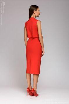 Платье красное длины миди 1001dress