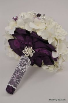 Purple and white broach bouquet