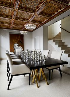 A globally inspired dining room with a custom Moroccan-style ceiling and custom stonework, designed by Alexander Gorlin Architects. Solid Wood Furniture, Custom Furniture, Furniture Design, Industrial Style Coffee Table, Contemporary Chairs, Architectural Digest, Interior Design Services, Home Accents, Furniture Making
