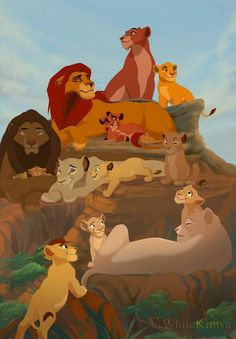It depicts Simba, which lies on a rock in the first part of The Lion King, Sarabi and pregnant Nala, which is wai. Lion King Tree, Lion King 3, Lion King Story, The Lion King 1994, Lion King Fan Art, Lion King Movie, Lion Art, Le Roi Lion 1, Le Roi Lion Film