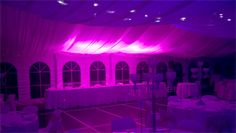 Pink Wedding table lights and deep purple room wedding lights, On Your Wedding at DJ MAGOO we let you select your room to be any colour you want!
