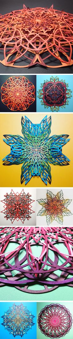Click for more pics!   Intricate Interlocked Geometric Cut Paper Sculptures Inspired by Science and Nature by Chrissie Hart #paperart #cutpaper #sculpture