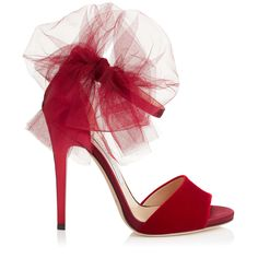 Red Velvet, Satin and Mirror Leather Peep Toe Sandals with Tulle Bow Detail | Lilyth 120 | Autumn Winter 15 | JIMMY CHOO Shoes
