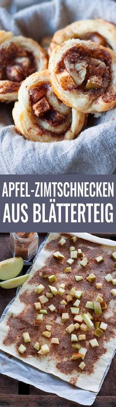 Apple cinnamon buns made from puff pastry- Apfel-Zimtschnecken aus Blätterteig Apple cinnamon rolls from puff pastry - Puff Pastry Desserts, Pastry Recipes, Baking Recipes, Cake Recipes, Food Cakes, Apple Recipes, Sweet Recipes, Apple Desserts, Apple Cinnamon Rolls