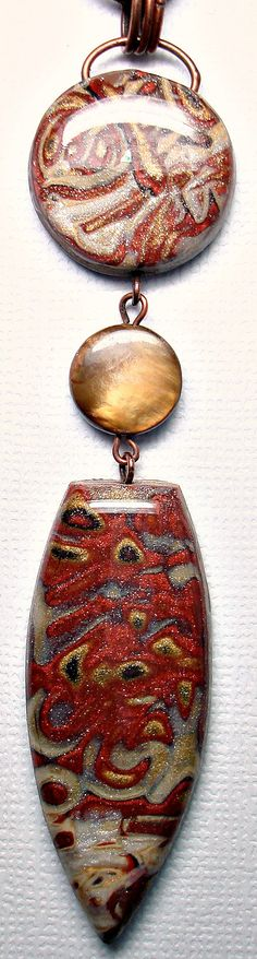 Mokume Gane Metallic Copper & Bronze Pendant